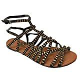 Twisted Women's Daisy Strappy Cutout Gladiator Sandals with Gold Studs