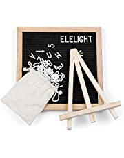 Kidsidol Wooden Felt Message Board with 340 Letters Number & Symbols Changeable Retractable Stand Reminder Versatile 10 x 10 inch (Black)