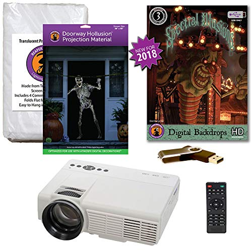 Halloween Window Projection Kit Includes 1200 Lumen Projector, 2 High Resolution Projection Screens (R/D) and Spectral Illusions Digital Backdrops on USB