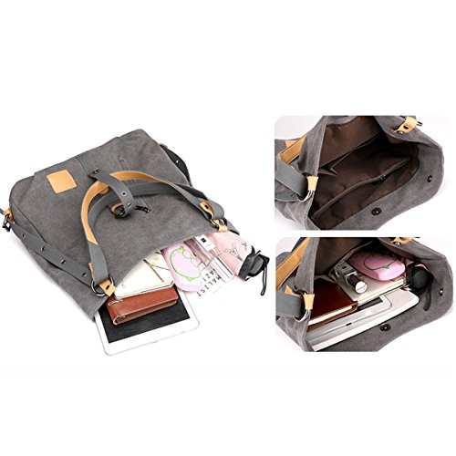 Rucksack Shoulder Handbag Bags Backpacks Hobos Bag Totes Canvas Defeng Black Daypacks BAFqYW