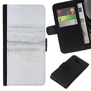 KLONGSHOP // Tirón de la caja Cartera de cuero con ranuras para tarjetas - Gris mares tempestuosos Tiempo Océano Costa - Samsung ALPHA G850 //