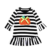 HEHEM Baby Clothes Newborn Outfits Kids Infant Toddler Baby Girls Dress Pumpkin Cartoon Print Stripe Dresses Halloween Outfits 0-7 Years