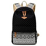 Alando Canvas Dot Backpack Cute Lightweight Teen Girls Backpacks School Shoulder Bags (Black)