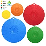Home Servz Premium Silicone Suction Lids Set- 5 Covers Included- Food Covers For Bowls, Cups, Pots, Pans & More- BPA Free- Dishwasher Safe- Stretchy & Reusable Lids