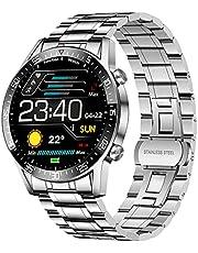 LIGE Smartwatch voor heren, 1,4 inch, smartwatch Bluetooth 4.0, sport, waterdicht IP67, met stappenteller, hartslagmeter, muziekbediening, roestvrij staal, activiteitstracker voor Android iOS