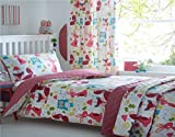 Kidz Club Children's Wildwood King Bed Duvet Cover and 2 Pillowcase Bed Set Bedding With Squirrels, Owls, Rabbits On White by Homespace Direct