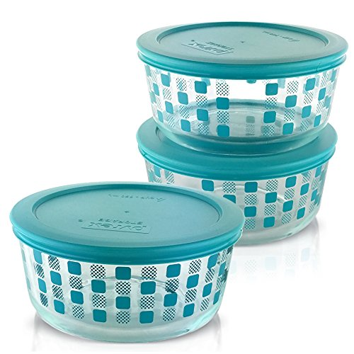 Pyrex 1124730 4 Cup Storage Dish Squared Bon, Pack of 3