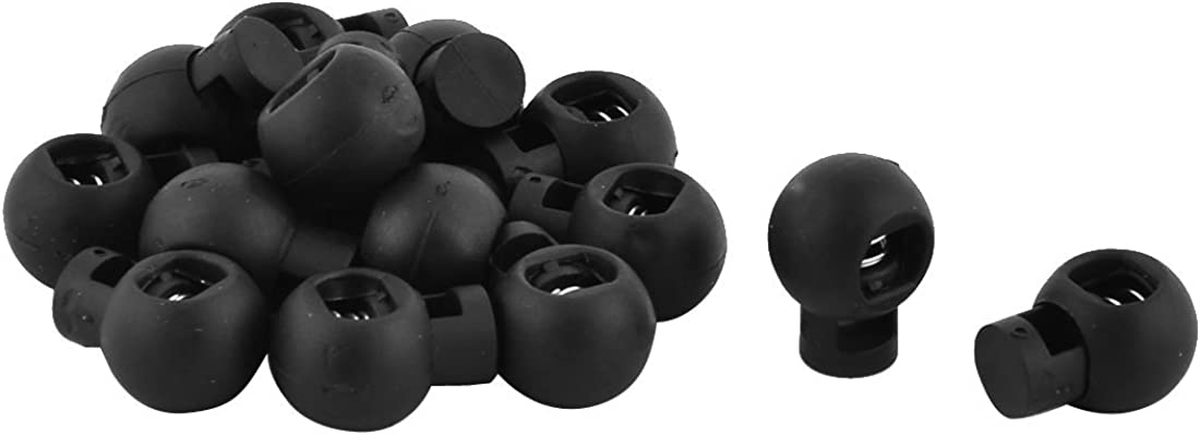 uxcell Plastic Ball Shaped Spring Loaded Cord Lock Stopper Toggle End 15 PCS Black