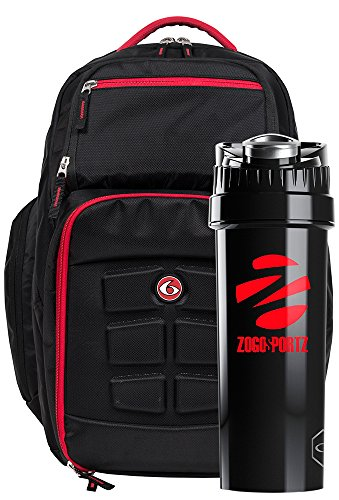 6 Pack Fitness Expedition Backpack Meal Management System 500 Black/Red W/ Bonus ZogoSportz Cyclone Shaker Cup
