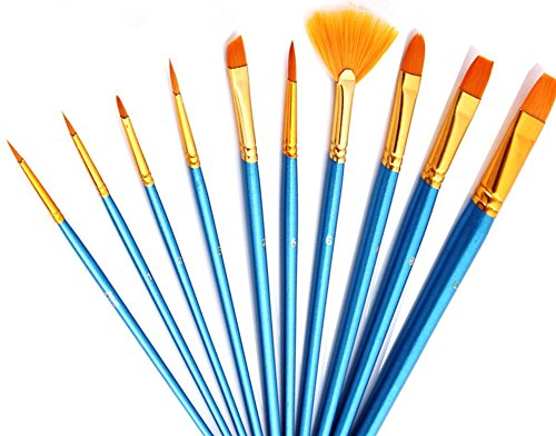 10pcs Artists Paint Brush Set for Art&Crafts Acrylic Oil Watercolor Painting Miniature Model Painting Nail Body Face Painting, Short Handle Brush Set for Kids & Artists (Angle Fan Brush)