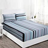 Maspar Superfine 210 TC Cotton Double Bedsheet with 2 Pillow Covers - Striped, Multi Pastel (MP31953)