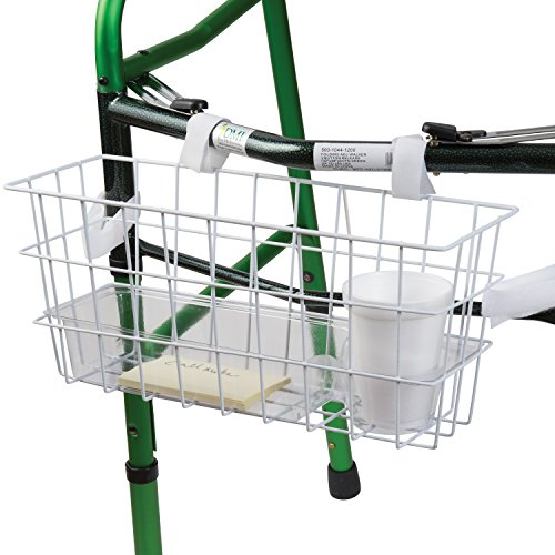 HealthSmart Universal Walker Basket with Plastic Insert Tray and Cup Holder, No Tools Needed, White
