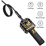 HOMIEE Inspection Camera Borescope with Large Color LCD Screen and Video Recording, 3.2ft IP67 Waterproof Semi-Rigid Snake Endoscope Tube and 8 Brightness LED Level, Portable Toolbox Included