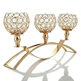 VINCIGANT Gold Crysta Candle Holders / 3 Arms Candelabra for Coffee Table Centerpiece Decor,Christmas Wedding Thanksgiving Gifts
