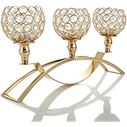 VINCIGANT Gold Crystal Candle Holders / 3-Candle Candelabras,Coffee Table Decorative Centerpieces for for Living Room/Dinning Room Table Decoration,Gifts for Wedding/Birthday