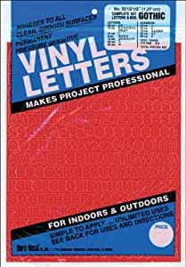 """Permanent Adhesive Vinyl Letters & Numbers: 1/2"""" Gothic Red"""
