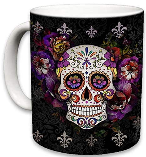 Sweet Gisele | Sugar Skull Ceramic Mug | Floral Print Coffee Cup | Day of the Dead Design | Beautiful Vivid Colors | Great Novelty Gift | Black | 11 Fl. Oz (Black)