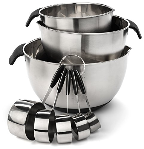Elite Kitchenware Stainless Steel Mixing Bowls and Measuring Cups Set - Ultimate Cookware Set - Stainless Steel Kitchen Utensils - Kitchen Tools - Kitchen Gadgets - Cooking Utensils