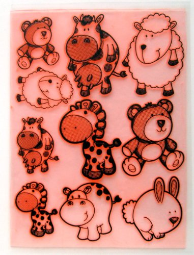 """Cute Animals Cow Sheep Bear Giraffe Hyppo (7""""x10"""") Large Sheet Clear Stamps Vintage"""