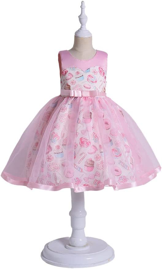 3-9 Years Old,100# Girl Princess Skirt Fluffy Skirt Ice Cream Lollipop Print in Big Kids Dress Skirt European and American Girl Dress