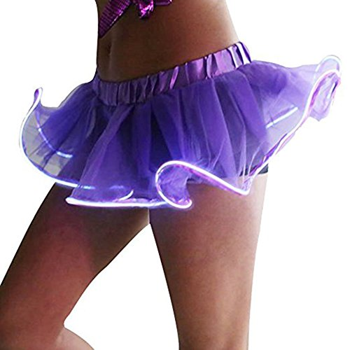 Light LED M Skirt Women Let's Halloween Sanwooden Christmas Stage Purple Sexy Blue Tutu Party Skirt Dress Party w7CnqPZH