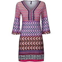 White Mark Womens Geometric Print Soft Jersey Tunic Dress | 3/4 Sleeve Stretch Fit