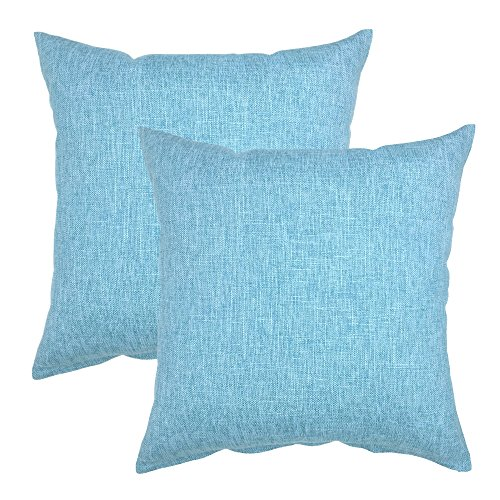YOUR SMILE Solid Color Cotton Linen Decorative Throw Pillow Case Cushion Cover Pillowcase for Couch Sofa Bed,18 X 18 Inches (Light Blue,Set of - Set Linen Sofa