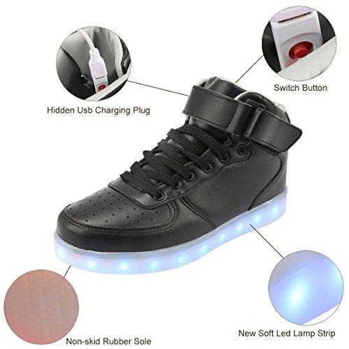 Padgene uomo a nbsp;colori USB luci lacci sneakers top batteria donna LED Black LED scarpe luci alta 7 lampeggiante unisex coppie wwxqrZ57