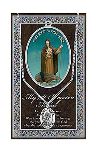 - WJH St Brendan Pewter Oval Medal | Patron Saint of Mariners and Elderly Travelers