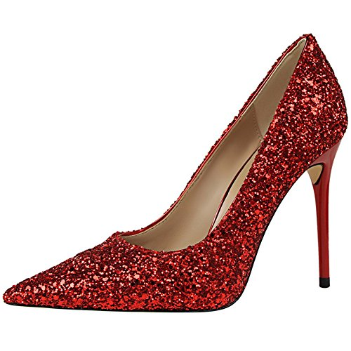BIGTREE Sexy Shiny Sequins Wedding High Heel Shoes by Women Pointed Toe Dress Pumps Court Shoes Red AL9IOG