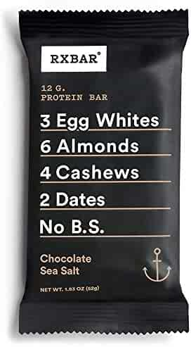 RXBAR Whole Food Protein Bar, Chocolate Sea Salt,  Gluten Free, 1.83 Ounce, 12 Count