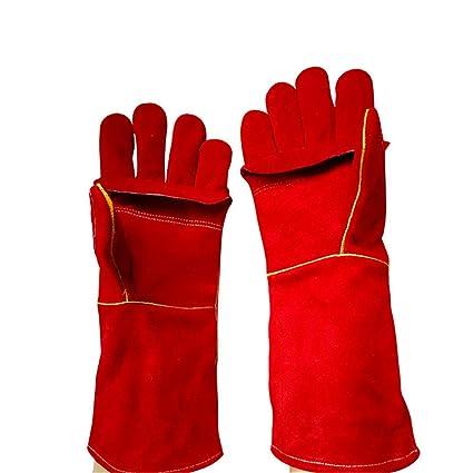 40 cm de largo Rojo Soldadura multifuncional Soldadura Guantes para MIG TIG ARC MMA Calor Resistente