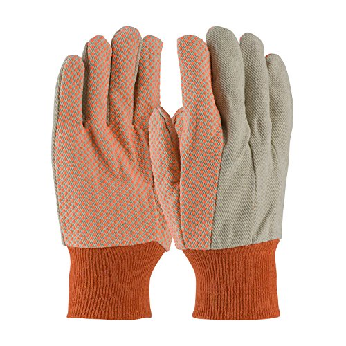 PIP 91-910PDO Premium Grade Cotton Canvas Glove with PVC Dot Grip on Palm, Thumb and Forefinger, 10 oz.
