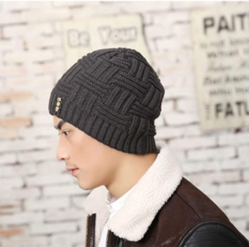 FJZ Beanie Jacquard Knitted Hat Autumn and Winter Fashion Youth Hat Mens Knitted Wool Hat Plus Velvet Thick Tide Winter hat