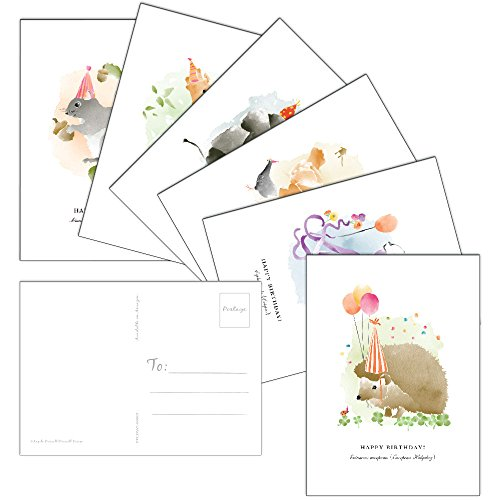 60 Postcards - Watercolor Birthday Animal - 6 Different Images