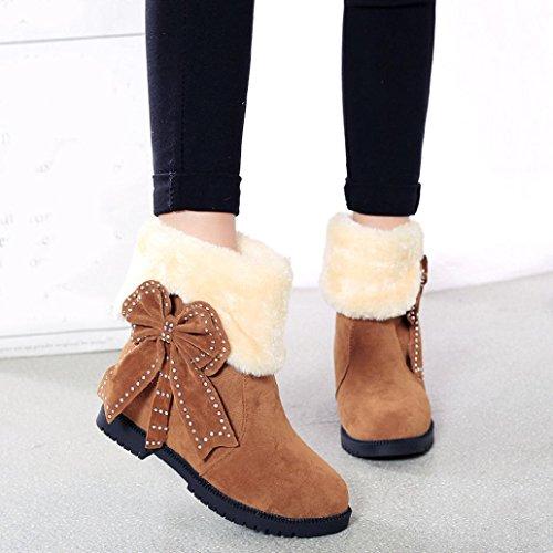 Botas Mujer,Ouneed ® Moda Bowknot mujeres calientes chicas nieve botas botas de piel de invierno marrón