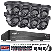 SANNCE 8CH 1080P AHD Security DVR Recorder and (8) HD 1080P Outdoor Fixed Surveillance Cameras, Super night vision,Motion Detection, IP66 Weatherproof Housing No HDD