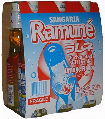 Sangaria Ramune Orange 200 ml Drink - 6 Pack
