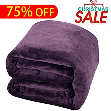 Luxury Fleece Blanket by Shilucheng Super Soft and Warm Fuzzy Plush Lightweight Queen Couch Bed Blankets - Purple