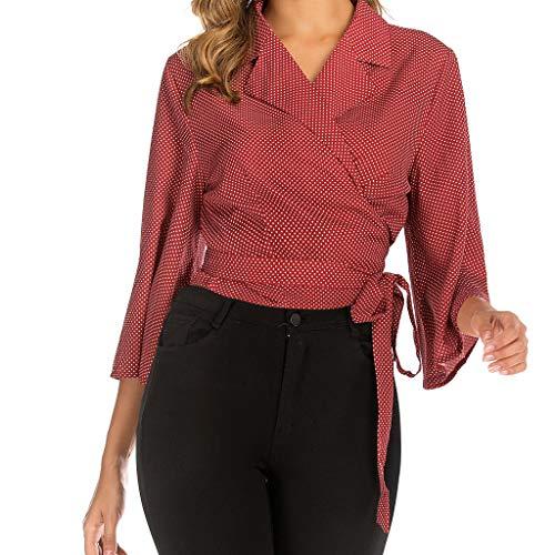 Yoyorule Autumn Pullover Top Women Fashion Turn-Down Collar Tie Point Print Mid-Sleeve Shirt Top Blouse Red (Mock Crocodile Belt)