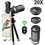 Cell Phone Camera Lens, Vorida 5 in 1 Smartphone Lens Kit, 20x Telephoto lens + 185° Fisheye Lens + 15X Macro Lens + Tripod + Remote Shutter for iPhone X 8 7 6 Plus, Samsung, etc.
