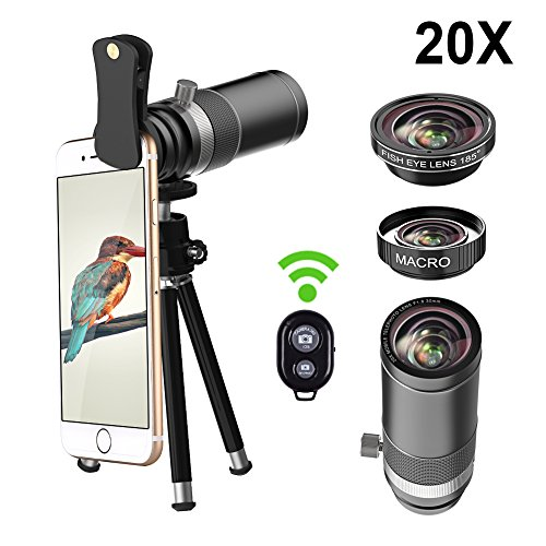 Vorida Cell Phone Camera Lens 5 in 1 Smartphone Lens Kit, 20x Telephoto Lens + 185° Fisheye Lens + 15X Macro Lens + Tripod + Remote Shutter, Compatible for iPhone X 8 7 6 Plus Samsung etc.