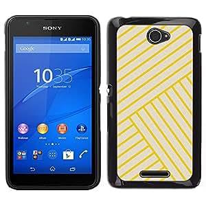 LECELL--Funda protectora / Cubierta / Piel For Sony Xperia E4 -- amarillo azulejos dorados línea Bling amarillas --