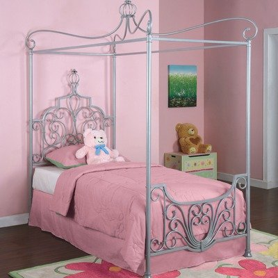 Bundle-88 Princess Rebecca Twin Size Canopy Bed in Sparkle Silver (4 Pieces) Size: Twin - Rebecca Canopy Bed