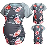 WUAI Maternity Tops and Blouse, Womens Short Sleeve Floral Printed Pregnance T-Shirt Tunic Tops(Grey,Small)