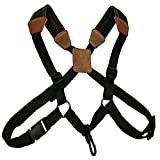 LONGTAI Saxophone Shoulder Strap Leather Soft Pad Sax Harness Alto Tenor Baritone Soprano Brown