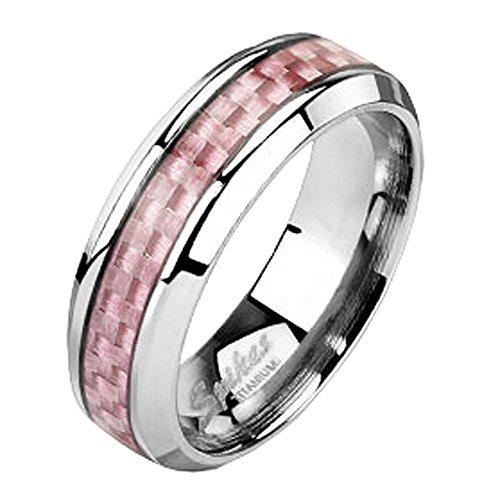 Jinique TIR-0016 Solid Titanium Pink Carbon Fiber Inlay Band Ring; Comes With Free Gift Box