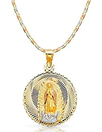 14K Tri Color Gold Diamond Cut Our Lady of Guadalupe Stamp Charm Pendant with 3.3mm Valentino Star Diamond Cut Chain Necklace