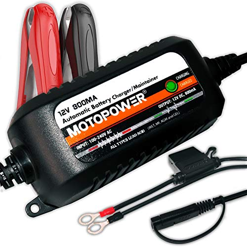 MOTOPOWER MP00205C 12V 800mA Automatic Battery Charger Maintainer - Charge, Maintain and Optimize Batteries [ Junior Plus ]