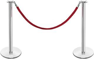 Shopfitting Warehouse - Paletti di delimitazione in acciaio inox lucidato con cordone in velluto, colore: rosso